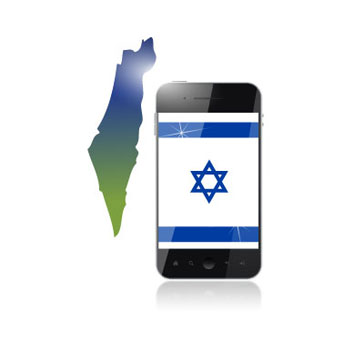 Cellphone with Israeli flad and map of Israel